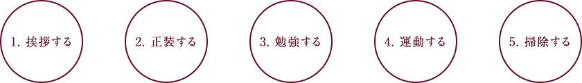 1.挨拶する 2.正装する 3.勉強する 4.運動する 5.掃除する