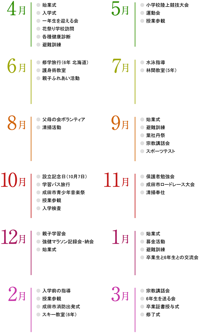 年間行事カレンダー